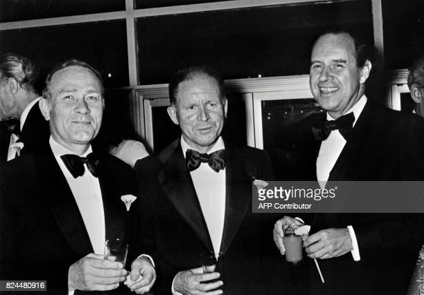 This picture taken in 1978 shows French channels CEOs Claude Contamine JeanLouis Guillaud and Maurice Ulrich Contamine former CEO of Antenne 2 and...