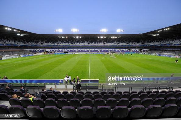 This picture taken in Anderlecht on October 2 shows the Constant Vanden Stock Stadium on the eve of the Champions league match between Anderlecht and...