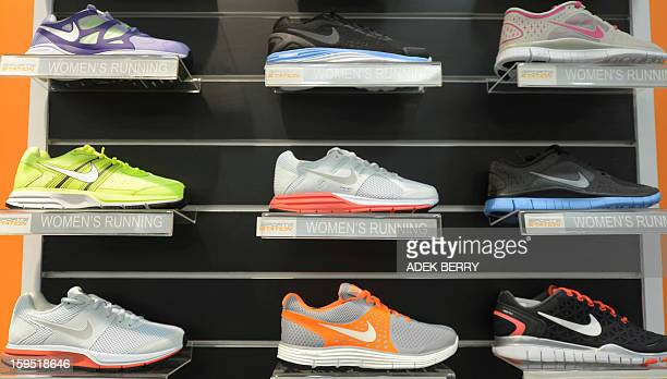 This picture taken in Jakarta on January 15 2012 shows Nike shoes displayed at a shop in Jakarta US sporting good giant Nike said on January 15 it...
