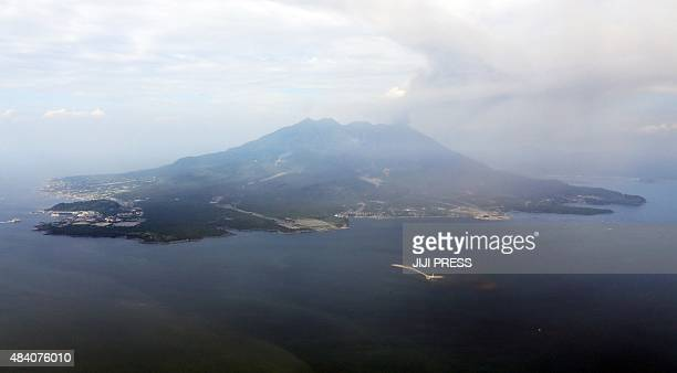 This picture taken in May 2015 shows an aerial view of Mount Sakurajima off the coast of Japan's southern city of Kagoshima Japan's weather agency on...