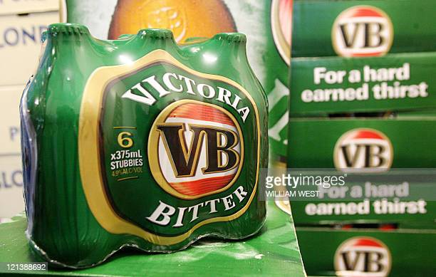 This picture taken in Melbourne 04 July 2007 shows Australia's iconic Victoria Bitter beer which is about to become less boozey after Foster's...