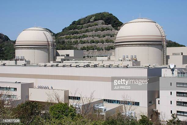 This picture taken on April 12 2012 shows the third and fourth reactor building of the Ohi nuclear power plant of the Kansai Electric Power Co at Ohi...