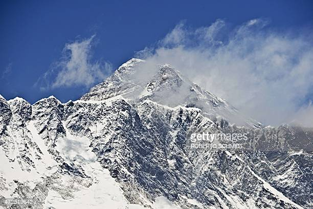 This picture taken on April 20 2015 shows a view of Mount Everest and Nupse taken from the village of Tembuche in the Kumbh region of northeastern...