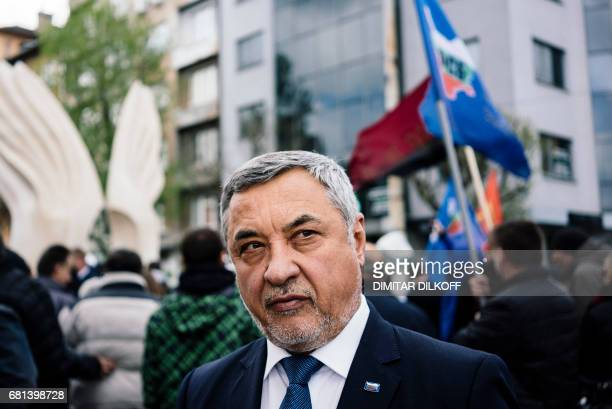 This picture taken on April 20 2017 in Sofia shows the United Patriots coalition coleader NFSB's Valery Simeonov looking on as he speaks to AFP At a...