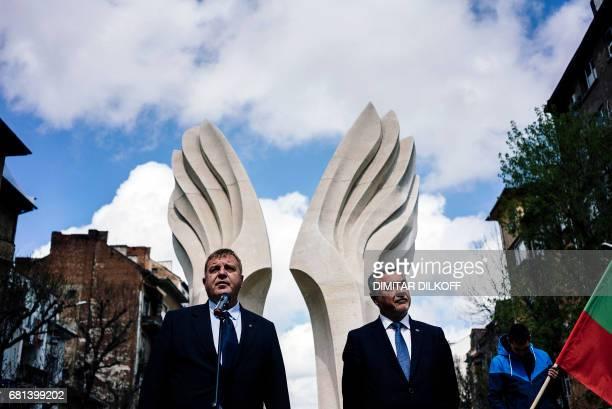 This picture taken on April 20 2017 in Sofia shows the United Patriots coalition coleaders VMRO's Krasimir Karakachanov and NFSB's Valery Simeonov...