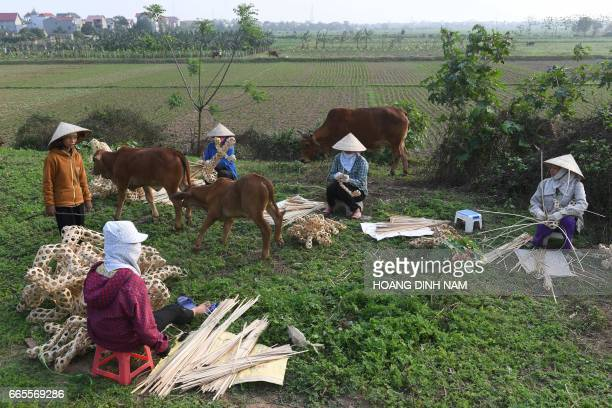This picture taken on April 3 2017 shows female farmers braiding sliced bamboo rings to make votive items which they will sell to earn extra income...