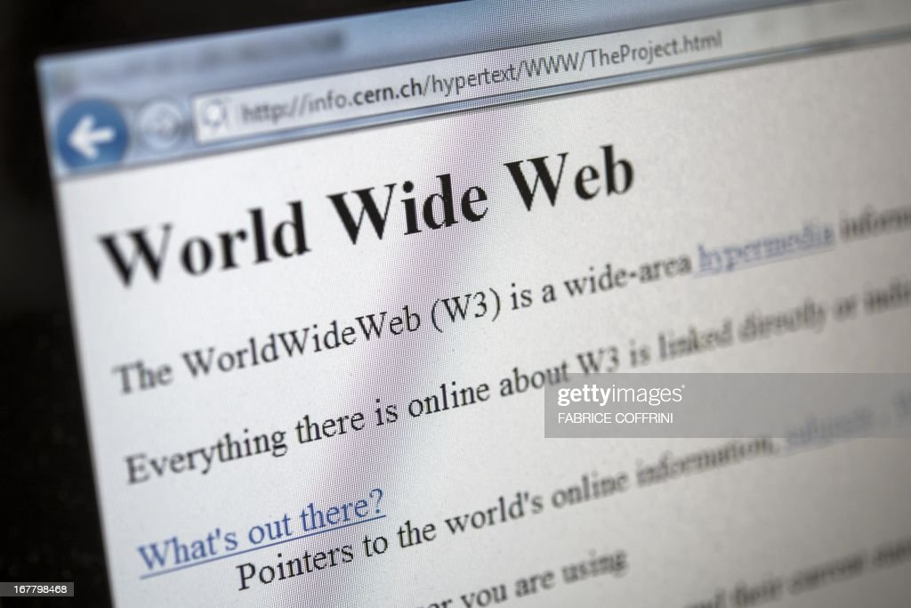 This picture taken on April 30, 2013 in Geneva shows a 1992 copy of the world's first web page. The world's first web page will be dragged out of cyberspace and restored for today's Internet browsers as part of a project to celebrate 20 years of the Web. The European Organisation for Nuclear Research (CERN) said it had begun recreating the website that launched that World Wide Web, as well as the hardware that made the groundbreaking technology possible. British physicist Tim Berners-Lee invented the World Wide Web, also called W3 or just the Web, at CERN in 1989 to help physicists to share information, but at the time it was just one of several such information retrieval systems using the Internet. AFP PHOTO / FABRICE COFFRINI