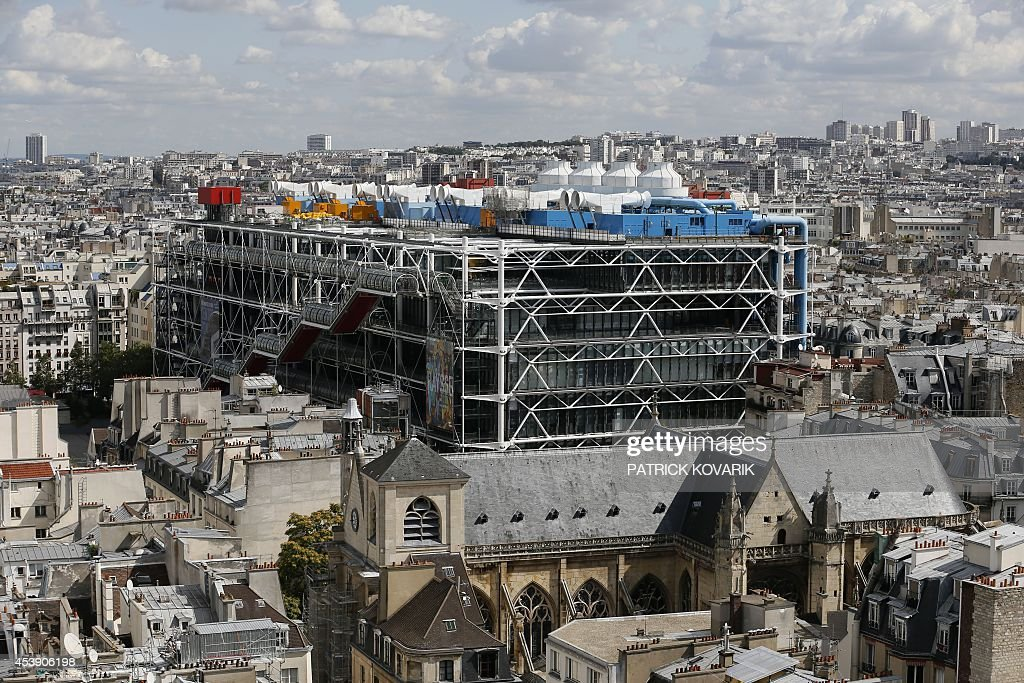 This picture taken on August 21 2014 from the Saint Jacques tower shows the Pompidou Centre in Paris AFP PHOTO / PATRICK KOVARIK