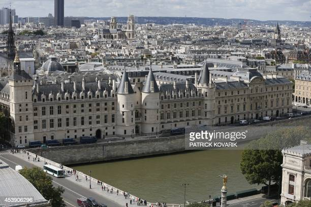 This picture taken on August 21 2014 from the Saint Jacques tower shows the Conciergerie in Paris AFP PHOTO / PATRICK KOVARIK