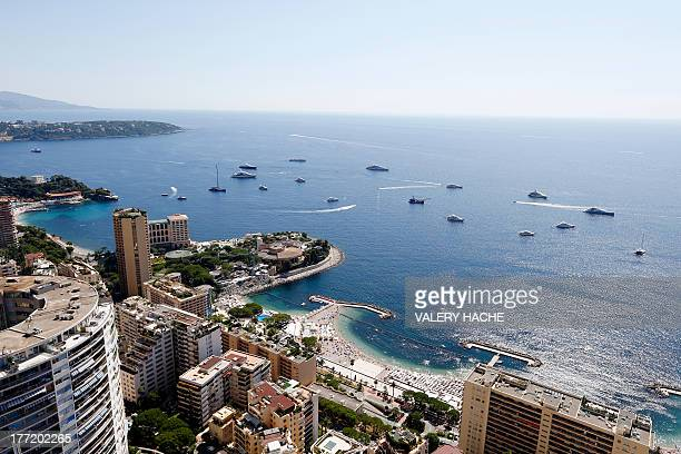 This picture taken on August 22 from the last floor of the Odeon tower shows a general view of Monaco The recently built 49 storey high Odeon tower...