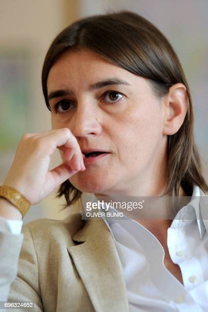 This picture taken on August 25 shows Serbia's next Prime Minister Ana Brnabic during an interview in Belgrade Serbia's President Aleksandar Vucic on...