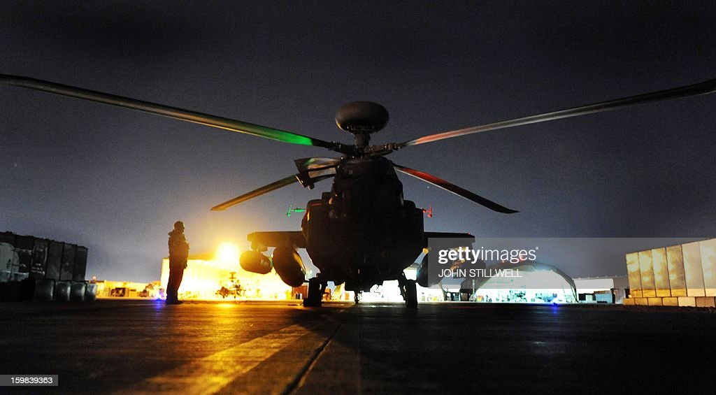 This picture taken on December 11 2012 shows the Apache Helicopter copiloted by Britain's Prince Harry at the British controlled flightline at Camp...