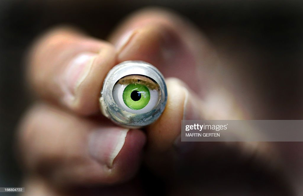 This picture taken on December 12, 2012 shows a spare eye for dolls at a doll repair workshop in Duesseldorf, western Germany.