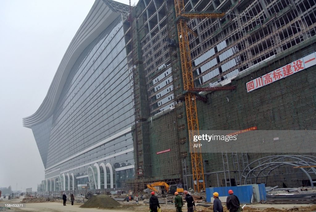 This picture taken on December 12, 2012 shows the world's biggest standalone building which is now still under construction in Chengdu, southwest China's Sichuan province. The metropolis of Chengdu, the reference of the breathtaking economic growth in western China, embodies its ambition in the 'Global Center' building that is described as 'the largest single building in the world. '