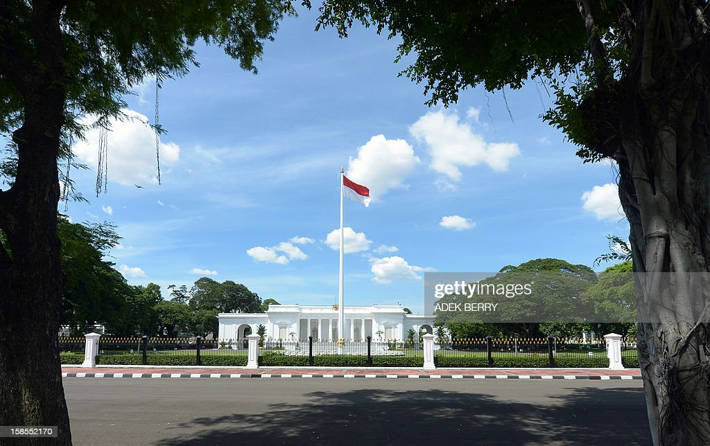 This picture taken on December 19, 2012 shows the Indonesian flag hoisted in the grounds of the Merdeka palace in Jakarta. The Merdeka palace (the Freedom Palace) originally called Koningsplein Paleis is a neo-clasical building designed by Drossares built in 1873 during the reign of Governor-General Louden and completed in 1879 during the reign of Governor Johan Willem van Landsbarge. Nowadays it functions as an official venue for presidential meetings and state functions.