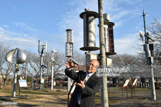 This picture taken on December 20 2016 shows Izumi Ushiyama a professor and expert of wind power at Ashikaga Institute of Technology speaking at the...
