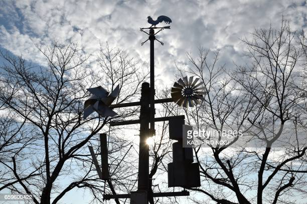This picture taken on December 20 2016 shows windmills displayed at the natural energy square in Ashikaga Institute of Technology Tochigi prefecture...