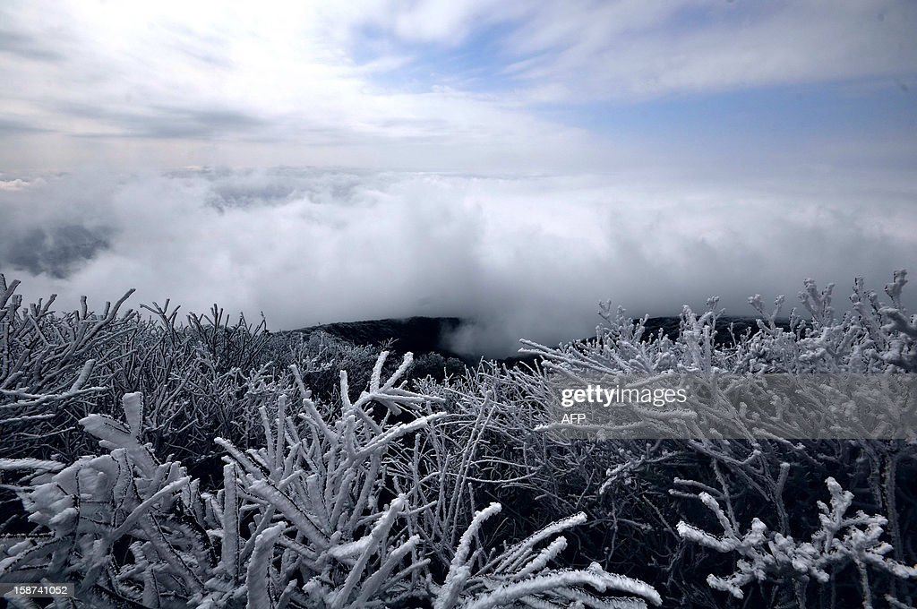 This picture taken on December 22, 2012 shows the snow-covered Leigong mountain in Leishan, southwest China's Guizhou province. A fresh cold snap is hitting most parts of China recently, according to the National Meteorological Center's forecast on December 26. CHINA
