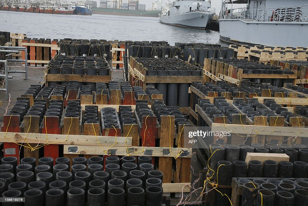 This picture taken on December 30, 2012 in the port of Dakar, shows fireworks waiting to be moved offshore and to be lit on New Year's Eve. Senegal's capital will organize the 'biggest fireworks' of its history and plans on using six tons of pyrotechnical material, operated by Portuguese pyrotechnists.