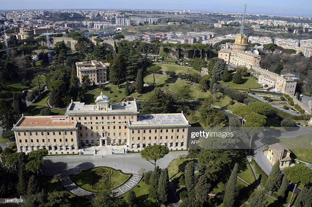 This picture taken on February 13, 2013 at the Vatican shows the Papal house (C), the gardens and the Mater Ecclesiae monastery (R), where Pope benedict XVI will retire. The former monastery -- the only one within the Vatican's walls -- was built in 1992 after pope John Paul II said he wished to create a space to house those who dedicate their lives to contemplation.