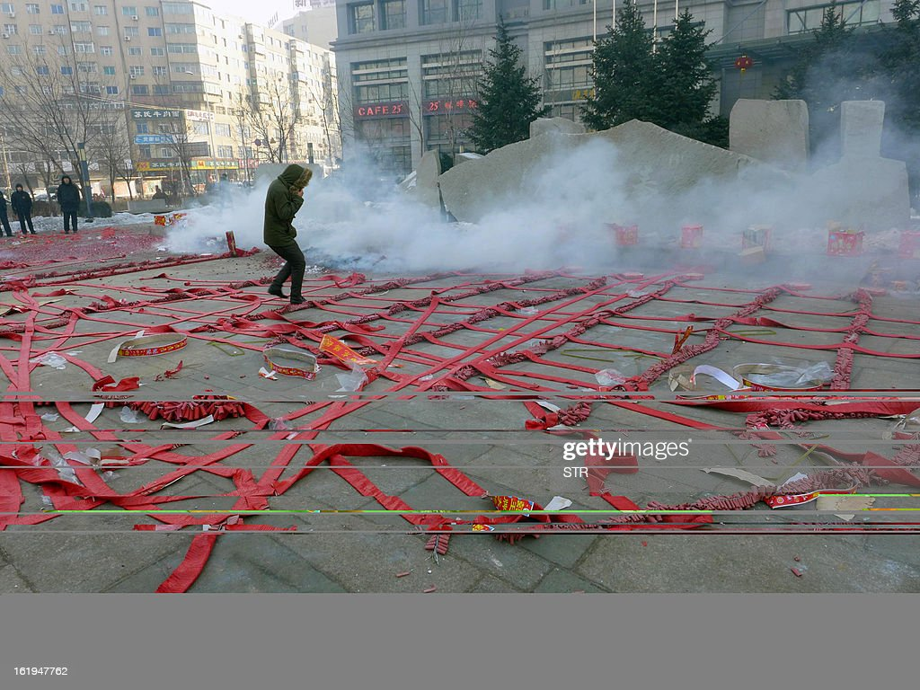 This picture taken on February 16, 2013 shows firecrackers displayed on the ground during a firework display to celebrate the Chinese lunar new Year of the Snake in Shenyang, northeast China's Liaoning province. The season is a peak period for fireworks producers, as Chinese traditionally buy the explosives to celebrate the festival, which fell on February 10 this year. CHINA