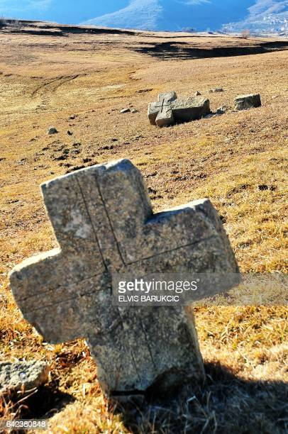 This picture taken on February 16 shows a graveyard as evidence of human habitation in the past on the driedout lake bed of artificial Ramsko lake...