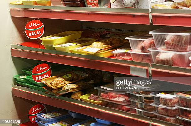 This picture taken on February 17 2010 shows Halal meat sold in a supermarket in Paris AFP PHOTO LOIC VENANCE