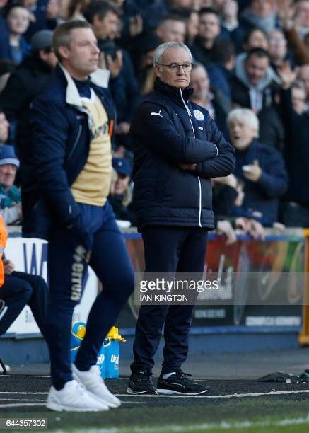 This picture taken on February 18 2017 shows Leicester City's Italian manager Claudio Ranieri standing on the touchline during the English FA Cup...
