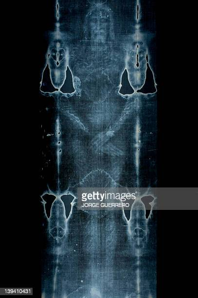 This picture taken on February 20 2012 shows a Facsimile of 'The Shroud of Turin' at the Cathedral of Malaga AFP PHOTO/ JORGE GUERRERO