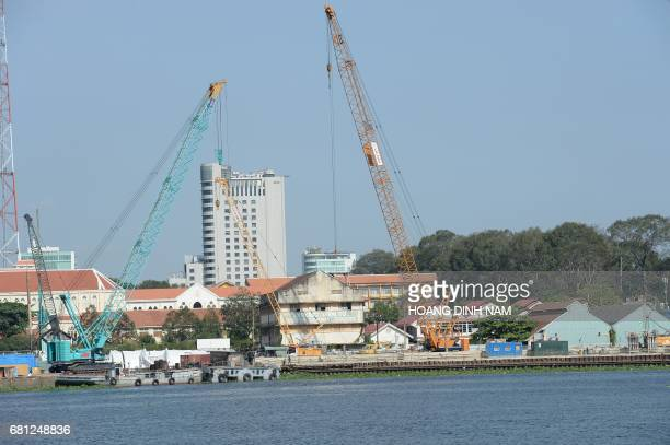 This picture taken on February 21 2017 shows the Ba Son ship yard which dated back to French colonialera being demolished for the construction of new...