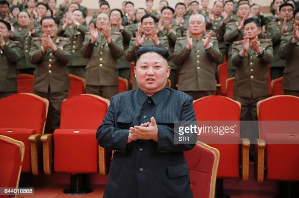 This picture taken on February 22 2017 and released by North Korea's official Korean Central News Agency on February 23 shows North Korean leader Kim...