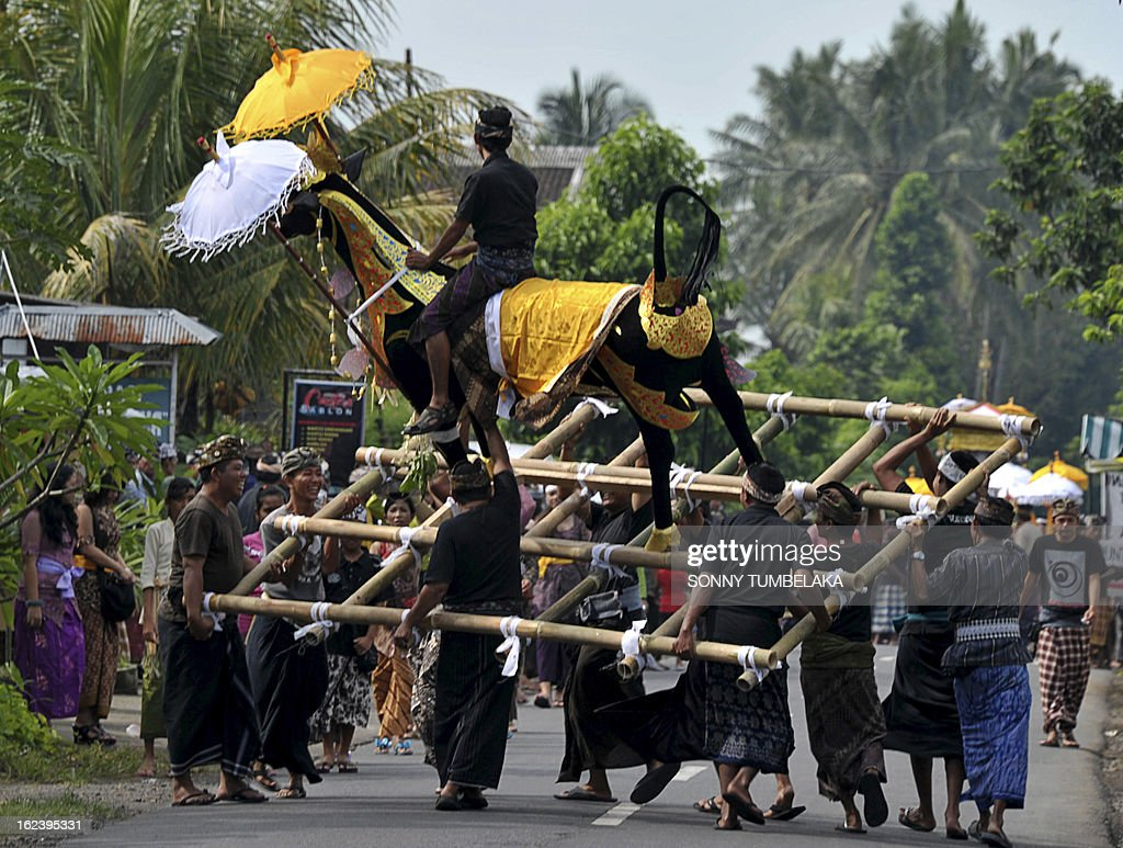 This picture taken on February 22, 2013, shows Balinese people carrying a sarcophagus that will contain human remains during a procession for a cremation ceremony, known locally as 'ngaben', at Buruan Kelod village in Tabanan on Bali island. The cremation is intended to return the dead to the fundamental elements of fire, air, water, earth and void. AFP PHOTO/SONNY TUMBELAKA