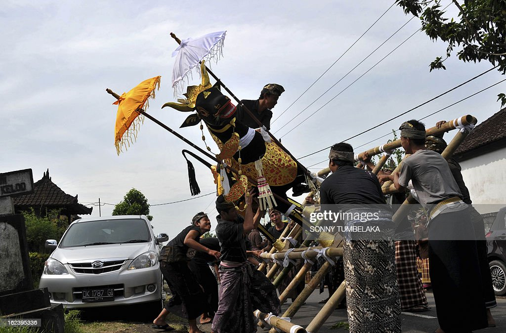 This picture taken on February 22, 2013, shows Balinese people lifting a sarcophagus that will contain human remains during a procession for a cremation ceremony, known locally as 'ngaben', at Buruan Kelod village in Tabanan on Bali island. The cremation is intended to return the dead to the fundamental elements of fire, air, water, earth and void.