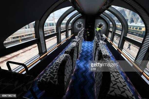 This picture taken on February 23 2017 shows the vistadome car of Japan's latest superdeluxe cruise train 'Twilight Express Mizukaze' during its...