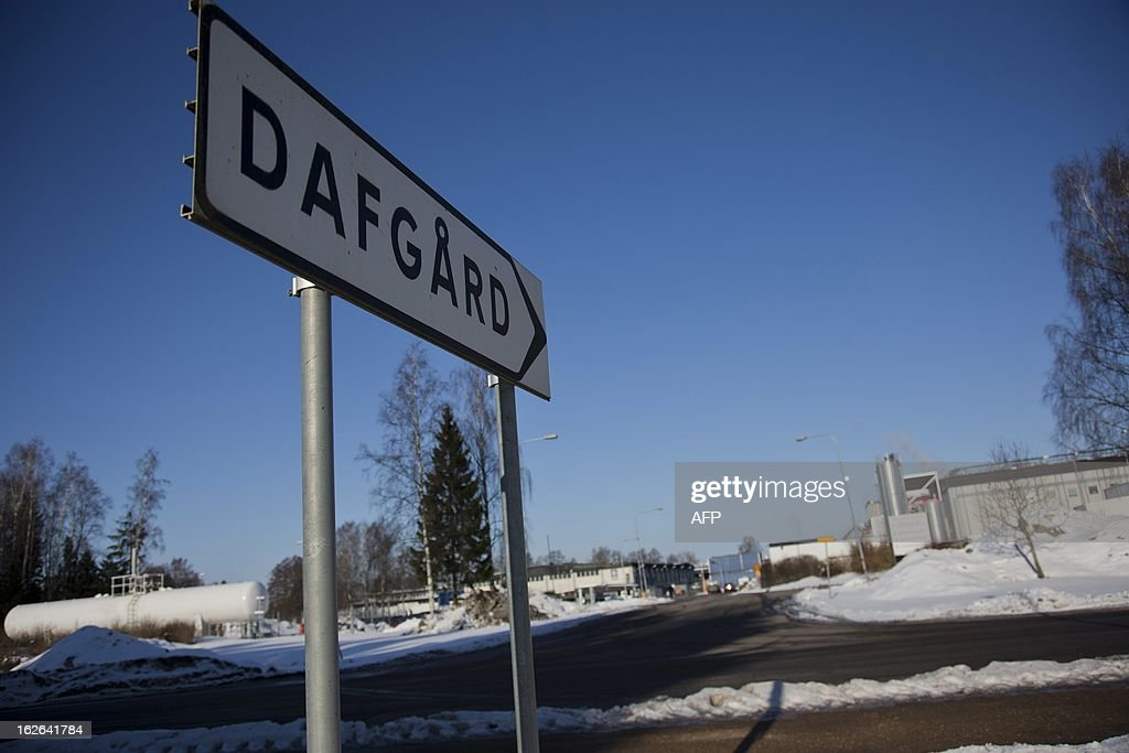 This picture taken on February 25, 2013 shows a road sign leading to Dafgard food company in Lidkoping. Furniture retailer IKEA says it has halted all sales of meat balls in Sweden after Czech authorities detected horse meat in frozen meatballs that were labeled as beef and pork and distributed mostly by Dafgard.