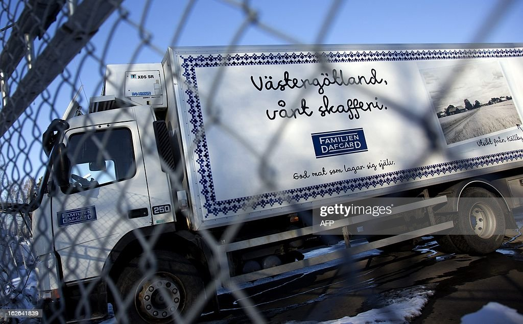 This picture taken on February 25, 2013 shows a truck outside the Dafgard food company in Lidkoping. Furniture retailer IKEA says it has halted all sales of meat balls in Sweden after Czech authorities detected horse meat in frozen meatballs that were labeled as beef and pork and distributed mostly by Dafgard.