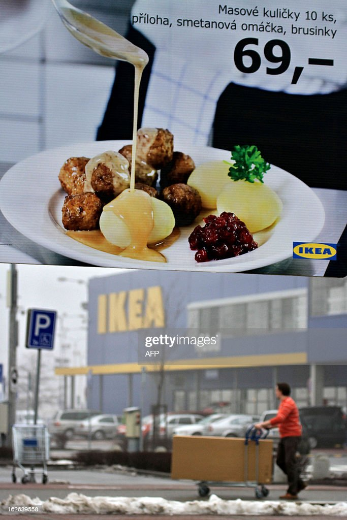 This picture taken on February 25, 2013 shows advertising panel showing the meatballs in front IKEA department store in Brno. Ikea pulls meatballs from 14 European countries after horsemeat was found in the product by Czech authorities. MICA