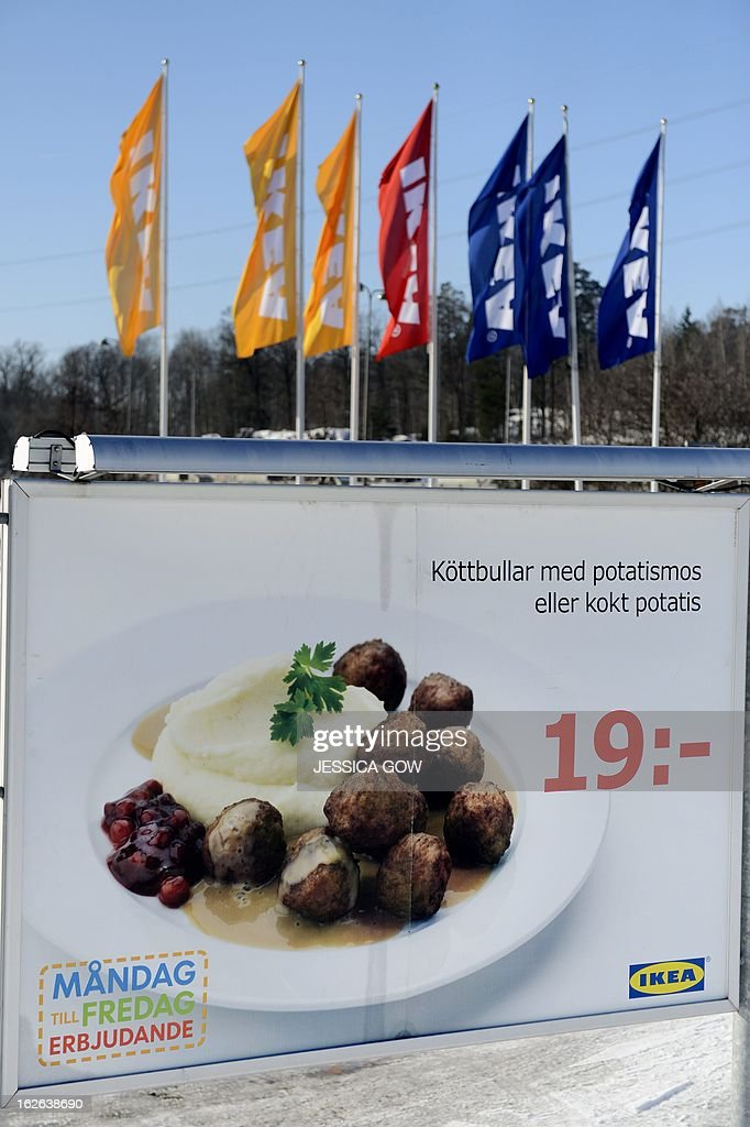 This picture taken on February 25, 2013 shows an advertising billboard for IKEA meat balls at a parking of an IKEA store in Stockholm. Ikea pulls meatballs from 14 European countries after horsemeat was found in the product by Czech authorities. AFP PHOTO / JESSICA GOW / SCANPIX Sweden/Sweden Out