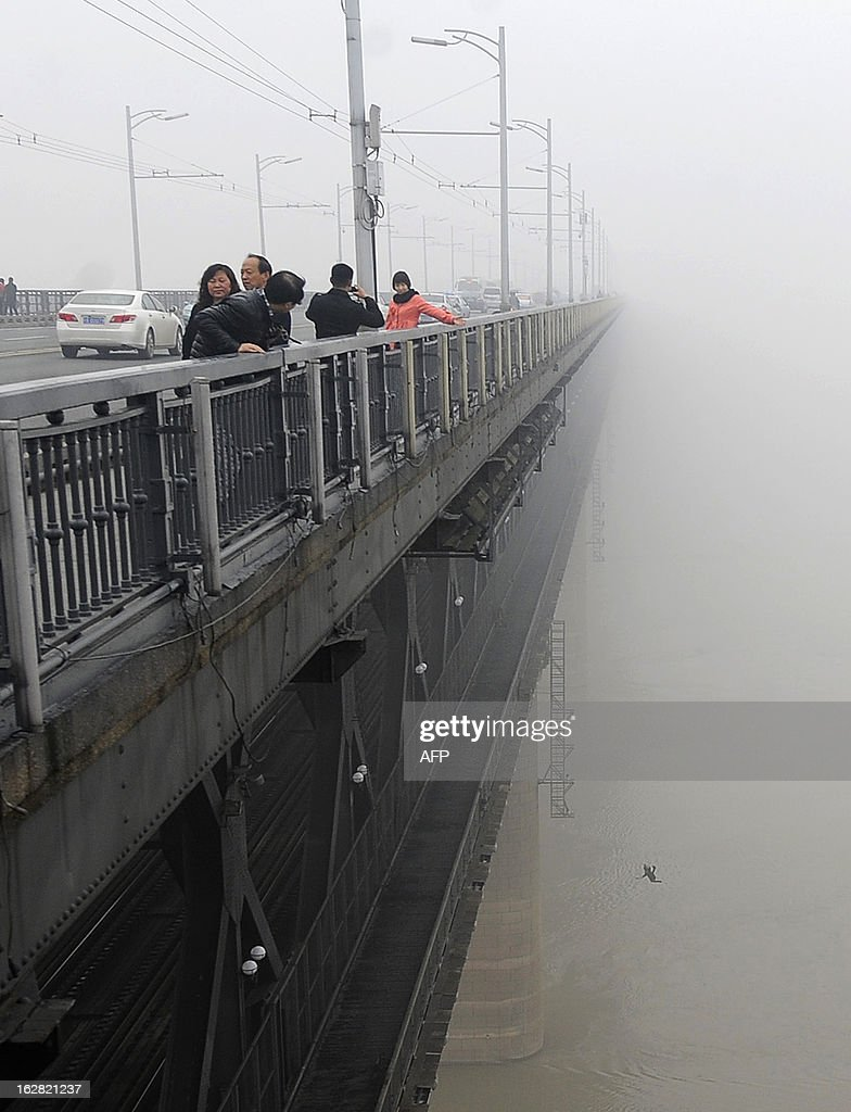 This picture taken on February 27, 2013 shows a youngster jumping from Yangtze River Bridge in Wuhan, central China's Hubei province into the river following another person who committed suicide minutes before. Police said there was little chance for them to survive and one of the two was a young male that was born in May, 1993. CHINA OUT AFP PHOTO