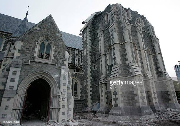 This picture taken on February 28 2011 shows the outside of the Christchurch Cathedral part of which was destroyed in the February 22 earthquake...
