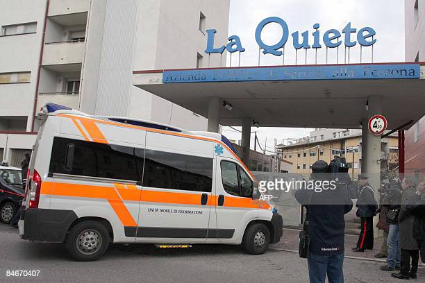 This picture taken on February 4 2009 in Udine shows an ambulance entering 'La Quiete' hospital where 37yearold Eluana Englaro a comatose woman who...