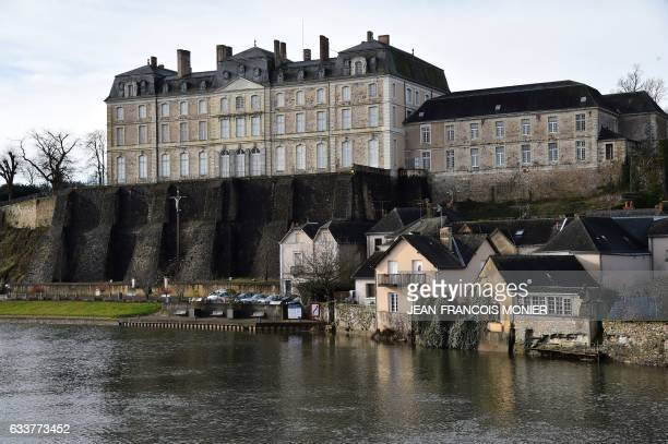 This picture taken on February 4 2017 shows the castle and restoration workshop of the National Library in SablesurSarthe northwestern France / AFP /...