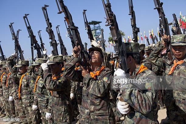 This picture taken on February 5 2015 shows Shan State Army South soldiers training at their headquarters in Loi Tai Leng in Myanmar's northeastern...