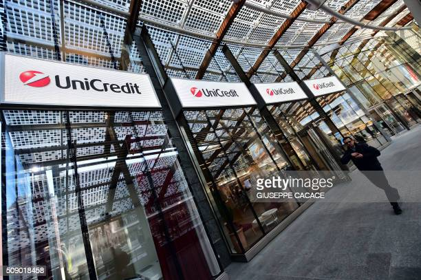 This picture taken on February 5 2016 shows the Unicredit logo on the Unicredit Tower in Milan The Milan stock market fell 349 percent on Thursday to...
