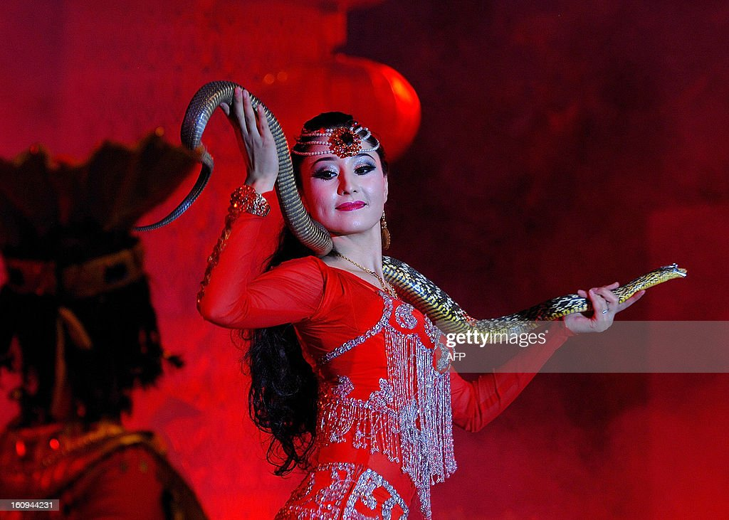 This picture taken on February 6, 2013 shows an actress performing with a snake to celebrate the coming lunar new year of China in Hetian, northwest China's Xinjiang Uygur Autonomous Region. The lunar new year, or spring festival, falls on February 10. CHINA