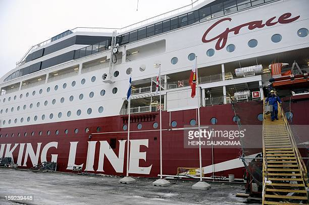 This picture taken on January 10 2013 in Turku shows the ferry M/S Viking Grace belonging to Finnish cruise company Viking Line Viking Grace is the...