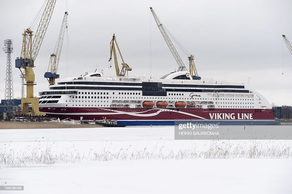 This picture taken on January 10, 2013 in Turku shows the ferry M/S Viking Grace belonging to Finnish cruise company Viking Line. Viking Grace is the world's first large passenger ferry powered by liquefied natural gas. AFP PHOTO/ LEHTIKUVA / Heikki Saukkomaa FINLAND OUT