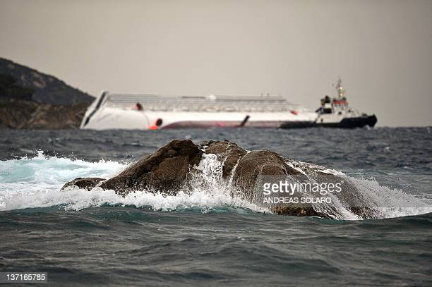 This picture taken on January 16 2012 shows the ' Le Scole ' rocks of the Isola del Giglio around 150 meter from the coast where it is believed the...