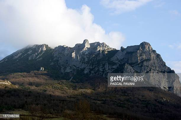 This picture taken on January 16 2012 shows the peak of Bugarach the culminating point of the Corbieres range in southwestern France near the village...