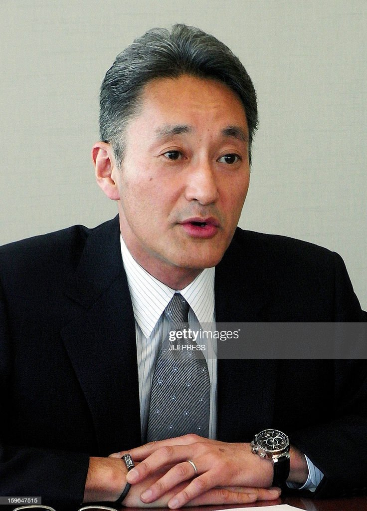 This picture taken on January 17, 2013 shows Japan's electronics giant Sony president Kazuo Hirai speaking to reporters at the company's headquarters in Tokyo. Hirai said that Sony was selling the company's US headquarters in Manhattan, New York for 1.1 billion USD as part of an overhaul aimed at rescuing the Japanese consumer electronics giant's tattered balance sheet.